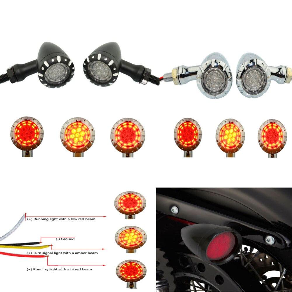 LED Brake Running Turn Signals Red Lamp 10mm Chrome For 12v Honda Motorcycle US