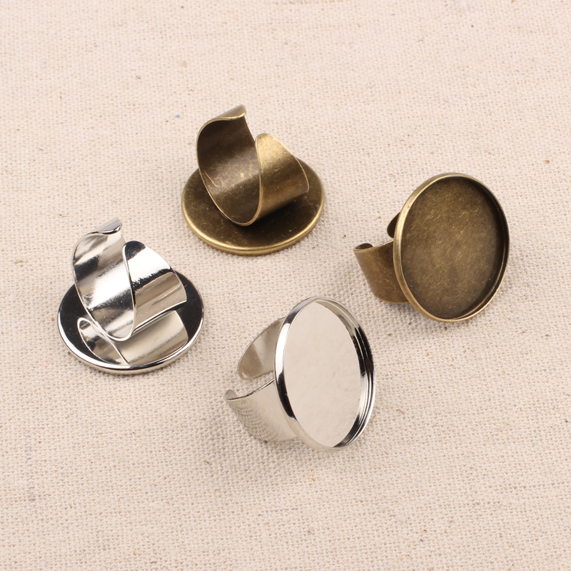 Silver Brass Adjustable Cabochon Ring Bases Setting Jewellry Making Findings