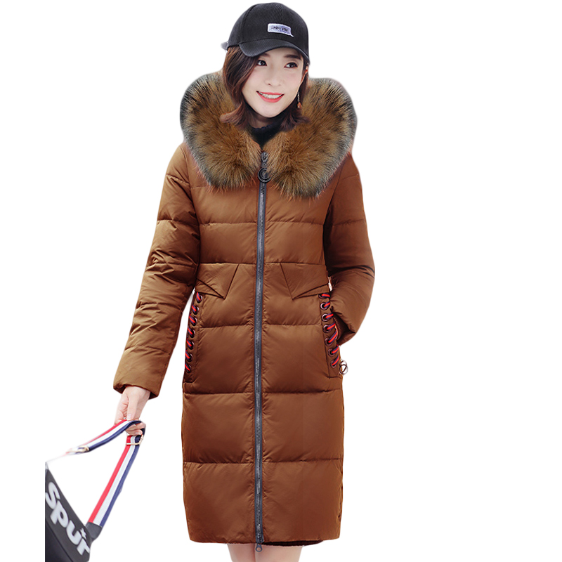 Snow Wear Large Fur Hooded Women Winter Jacket 2017 New Style Female Long Slim Cotton-padded Thicken Warm Parkas Coat CM1886 qazxsw 2017 new winter cotton coat women slim hooded jacket two sides wear long parkas fur collar winter padded abrigos hb339