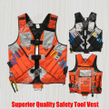 High Visibility Safety Tool Vest Workwear Pouch Nylon Reflector Uniform Harness for Construction Electrician Carpenter Surveyor