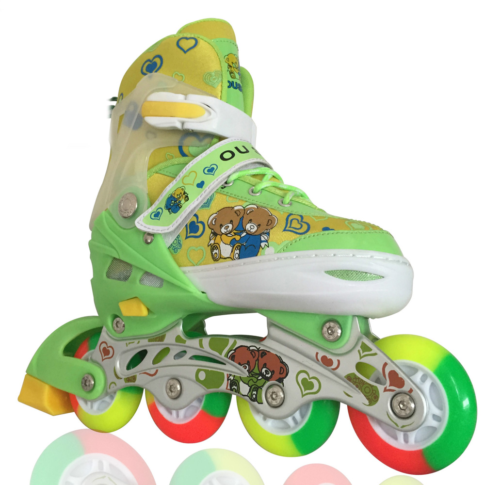 Lovely Cute Bear Children Inline Ice Skate Roller Skating Shoes Patins Adjustable Washable Colorful Flash Wheel Helmet Protector vik max factory outlet white figure skate shoes two size left ice skate shoes cheap figure skate shoes