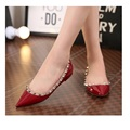 New arrival Fashion Women Shoes Rivet Flats Shoe PU Genuine LeatherPointed Toe Shoes Studded Ballerinas Size free shipping