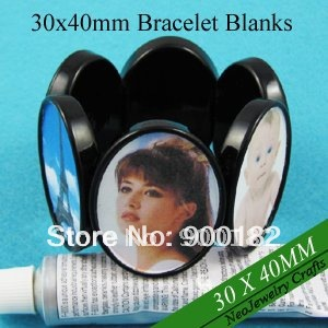 30x40MM Black Oval Stretchable Blank Bracelets with 6 Bezel Settings Great for Glass Cabochon or Epoxy