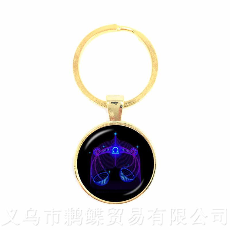 European And American Hot Sales Twelve Constellation Keychain For Men And Women Glass Time Gem Pendant Keyring Creative Jewelry