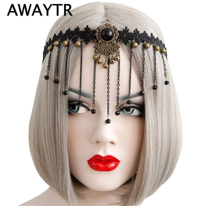 ᑐAwaytr Bandas para la cabeza mujeres gótico diadema nupcial negro ...