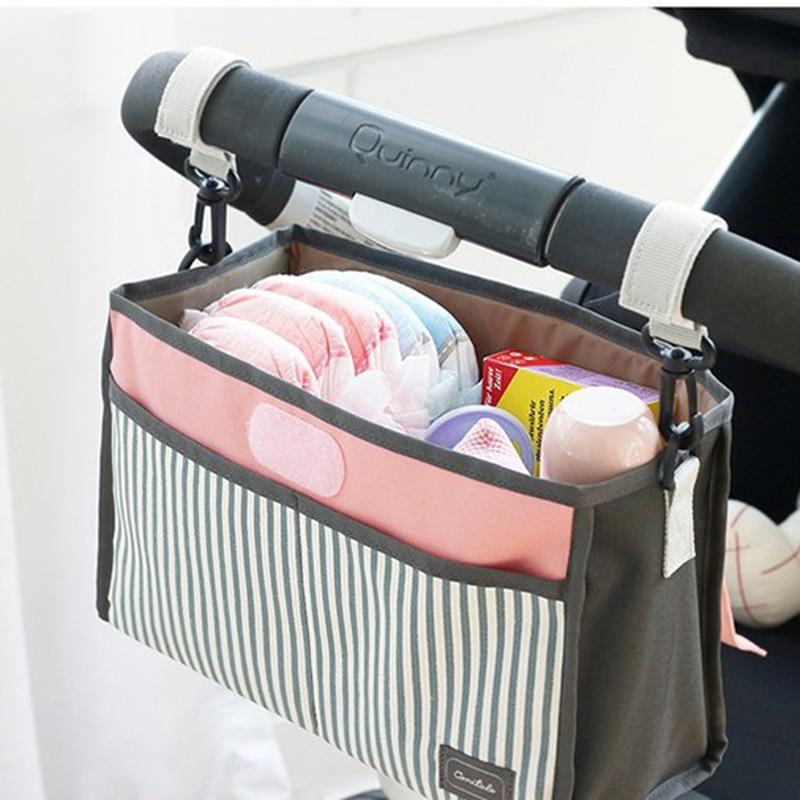 Baby Stroller Bag Nappy Diaper Mummy Bag Hanging Basket Storage Organizer Baby Travel Feeding Bottle Bag Stroller Accessories