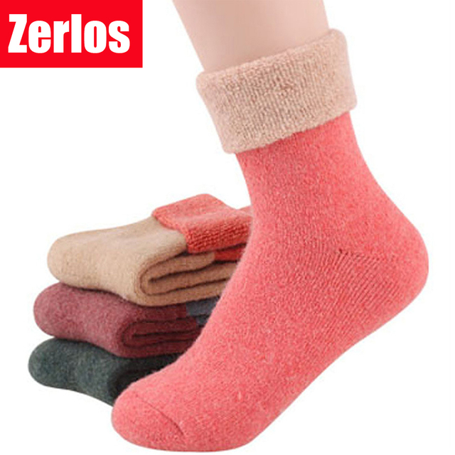 Free Shipping 2016 Winter socks cashmere women's cotton socks thermal thicken winter socks towel hemming warm socks 2 pairs