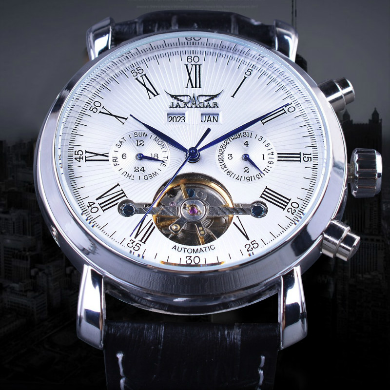 JARAGAR Complete Calendar Male Watches Leather Strap Erkek Saati Mechanical Wristwatch Man Reloj Hombre