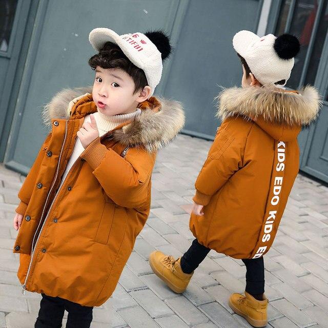 Зимние пальто для мальчиков до-30 градусов, пуховики с хлопковой подкладкой, детские парки, утепленная теплая Длинная Верхняя одежда с меховым воротником для маленьких мальчиков, куртки