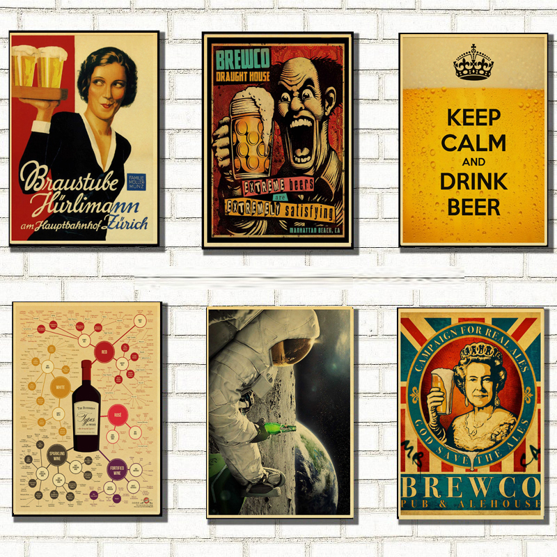 Painting Wall-Stickers Kraft-Game-Poster Beer Home-Furnishing-Decoration Drawing Funny