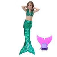 Hot Sales Summer Children Bikini Swimsuit Beachwear Girls Mermaid Tail Green Top Monofin Kids Cosplay Costume Photo Booth Props