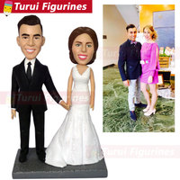 cake topper wedding custom bobblehead dolls clay wedding sculpture figurine engraved name signed couples name and wedding date