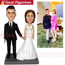 cake topper wedding custom bobblehead dolls  clay sculpture figurine engraved name signed couples and date