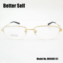 Better Self MC6601 Half Rim Optical Eyewear Rectangle Spectacles Quality Pure Titanium Glasses Frame Men