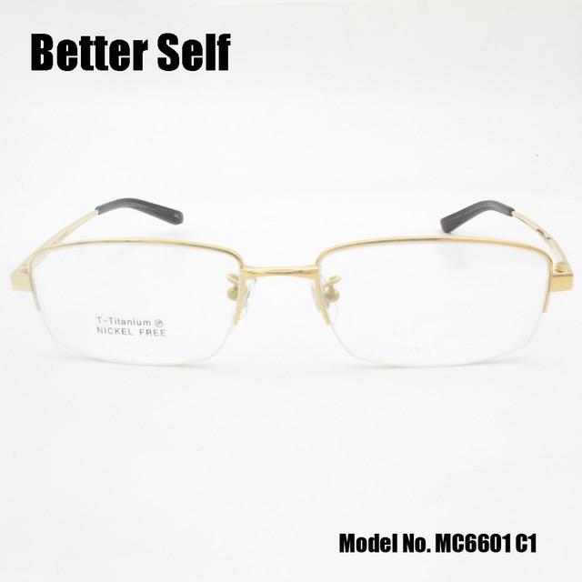 c2f2390df Better Self MC6601 Half Rim Optical Eyewear Rectangle Spectacles Quality  Pure Titanium Glasses Frame Men