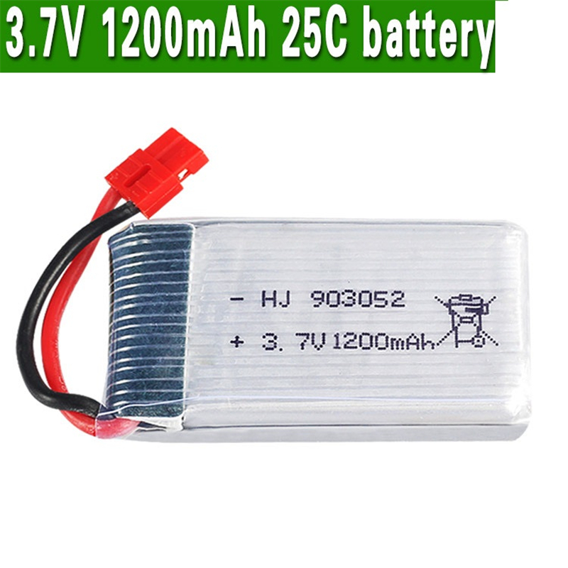 <font><b>3.7V</b></font> <font><b>1200mah</b></font> <font><b>Lipo</b></font> <font><b>Battery</b></font> For Syma X5HC X5HW X5UW RC Quadcopter Spare Parts 903052 25C <font><b>3.7v</b></font> <font><b>Battery</b></font> RC Camera Drone Accessories image