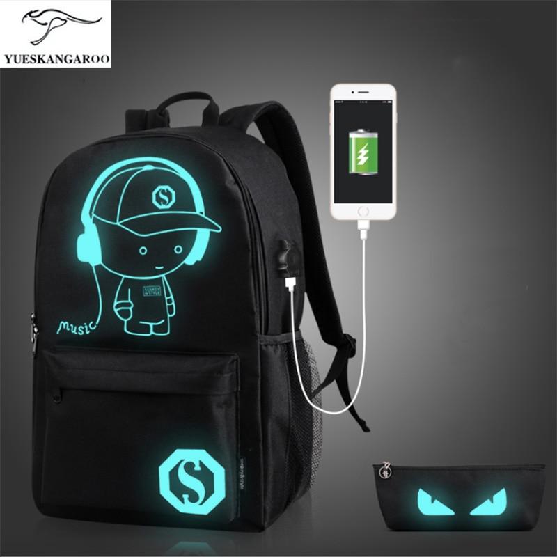 YUESKANGAROO School Backpack Student Luminous Animation School Bags For Teenager USB Charge Computer Anti theft Laptop