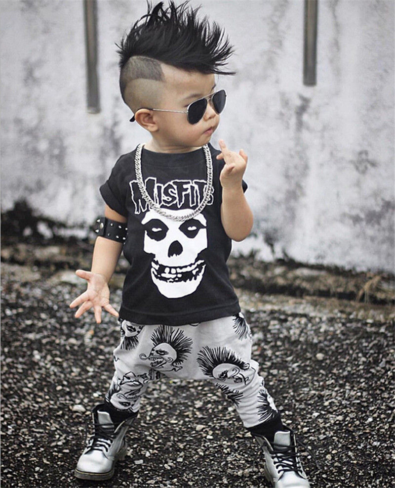 5fe53673056a Fashion Baby s Clothing Set Skull Pattern T shirt Tops + Cotton Long ...