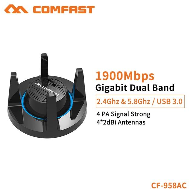 Comfast Gigabit E-sport Network Card 1900Mbps High Power 2.4G&5.8G USB 3.0 PC Lan Dongle Receiver Windows/Mac OS CF-958AC
