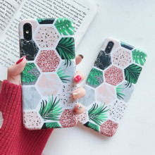Marble Pattern Cover Case for iPhone 6 8 7 6s Plus X Pastel Honeycomb Shockproof Skin