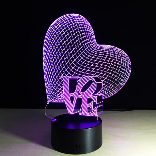 2017 New Novelty Love Heart 3D Led Night Light Touch Sensor Or Remote Swtich Table Lamps Girls Valentine Birthday Festival Gifts