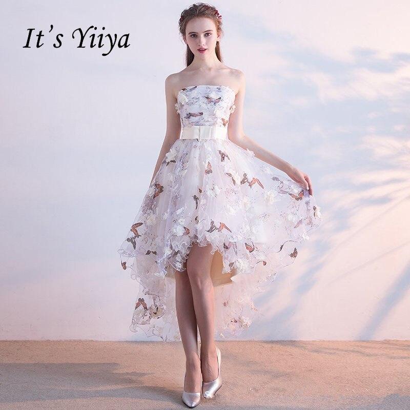 96a53a3c4 Es YiiYa vestido plisado de encaje de alta-baja de la asimetría de la  elegante Vintage flores fiesta de tafetán
