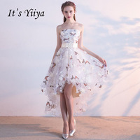 It S YiiYa Strapless Pleat Lace Up High Low Asymmetry Vintage Elegant Flowers Taffeta Prom Gown
