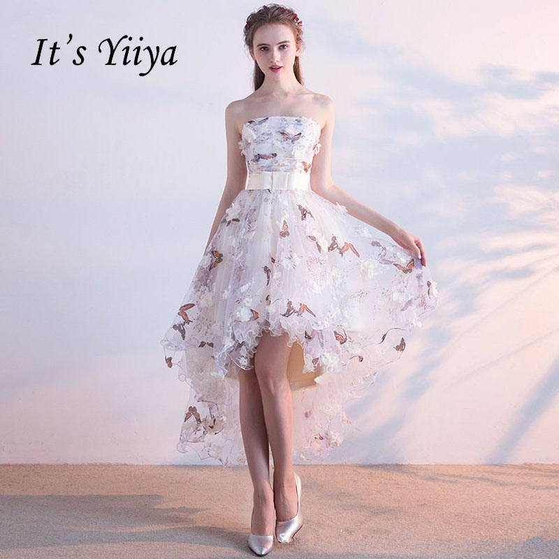 It's YiiYa Strapless Pleat Lace Up High-low Asymmetry Vintage Elegant Flowers Taffeta Prom Gown Dancing Party Prom Dresses LX018