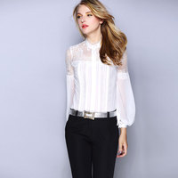 Women Tops 2016 New Spring Summer Long Sleeved Lace Spell Slim High end Chiffon Blouse White Women Blouses Ol Shirt Plus Size