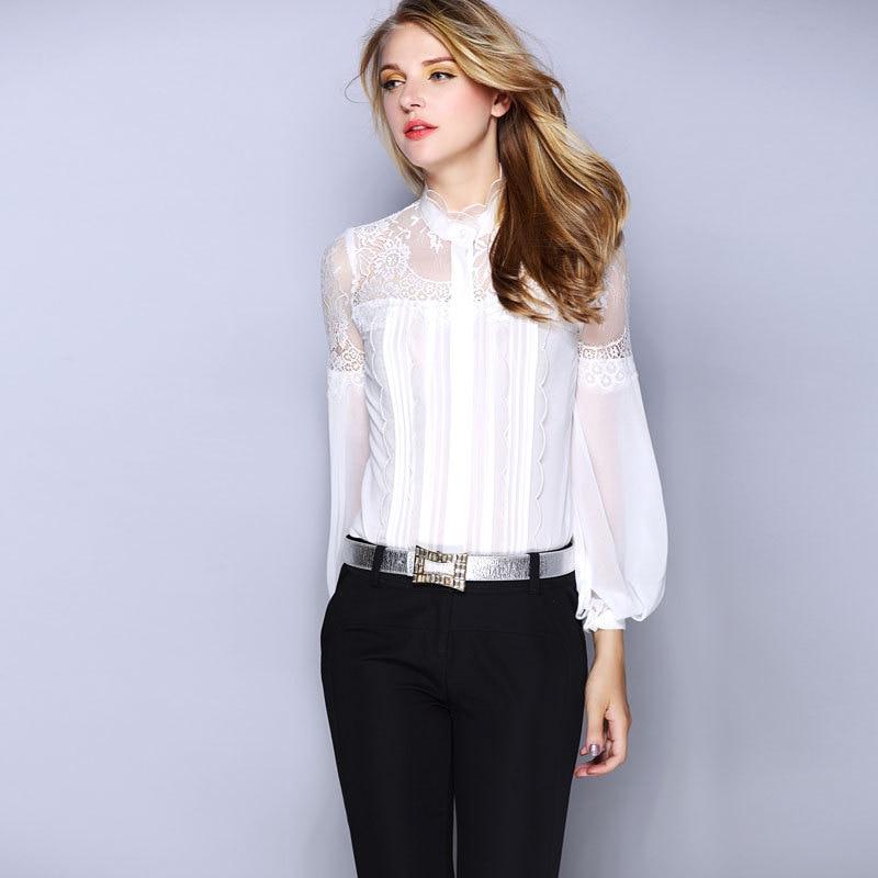 Haut pour femme 2016 nouveau printemps été à manches longues dentelle sort Slim haut de gamme en mousseline de soie Blouse blanc femmes Blouses Ol chemise de grande taille