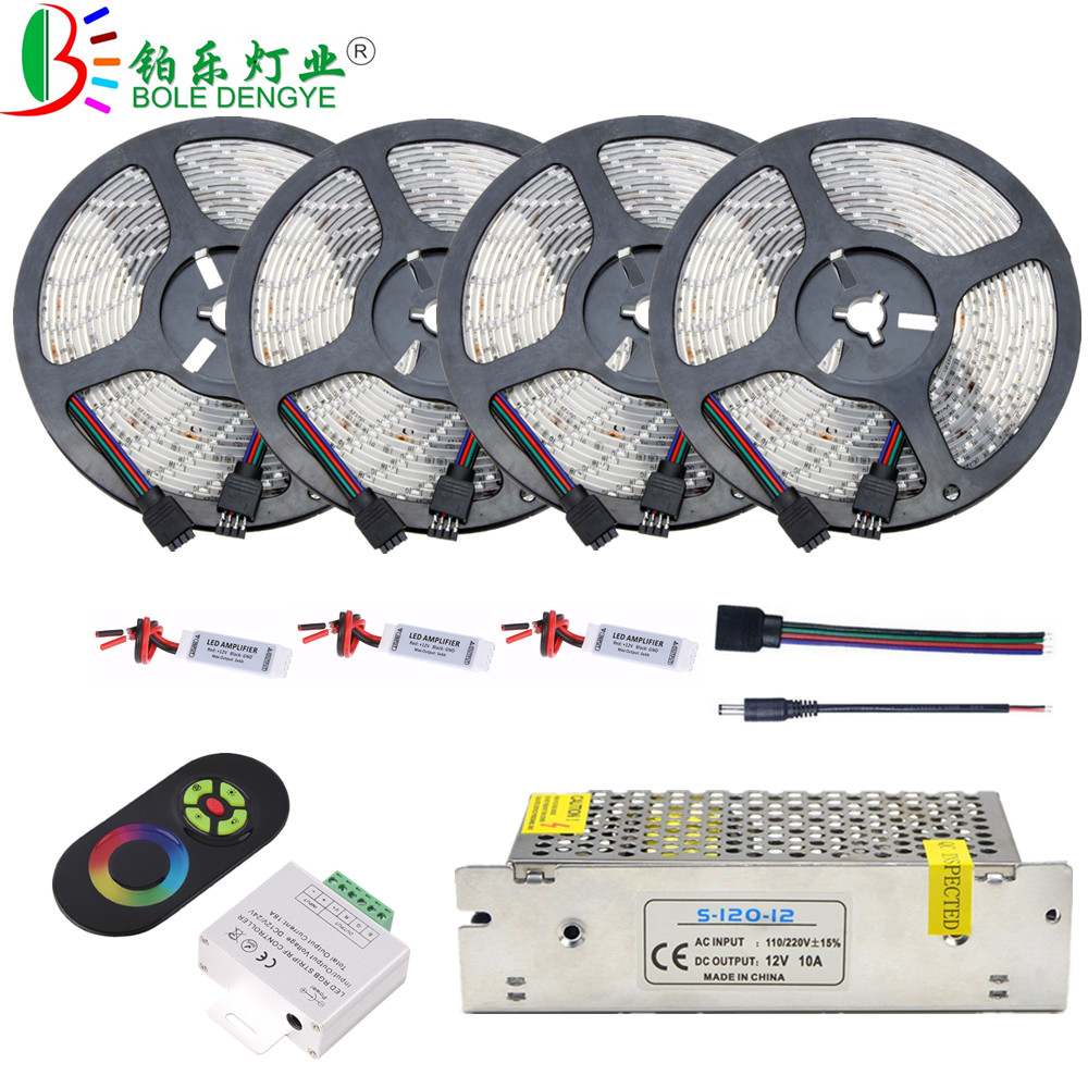 LED Light Strip 5M 10M 15M 20M 2835 RGB Tape Ribbon 12V Waterproof Flexible LED Rope Lighting+RF Remote Controller+Power Supply
