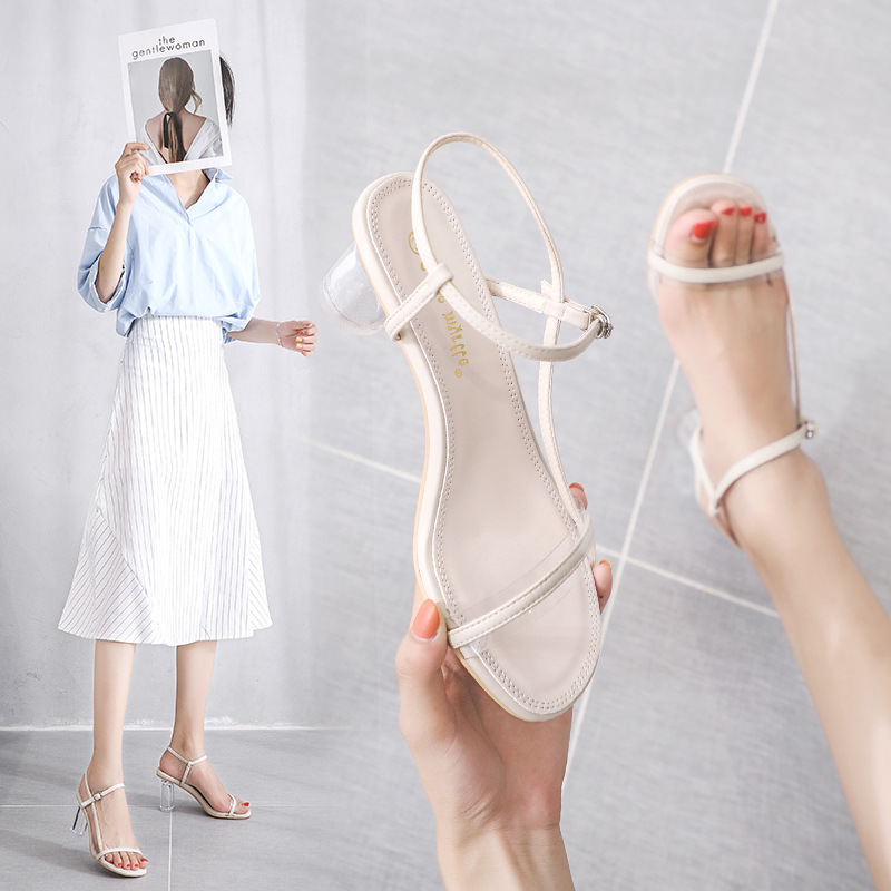 E TOY WORD 2019 Summer New style sandals Korean thick with crystal transparent heel open toe women shoes summer wild sandals in High Heels from Shoes