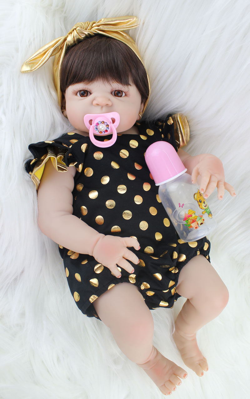 55cm Full Silicone Body Reborn Baby Doll Toy Realistic Newborn Princess Babies Doll With Earring Girl