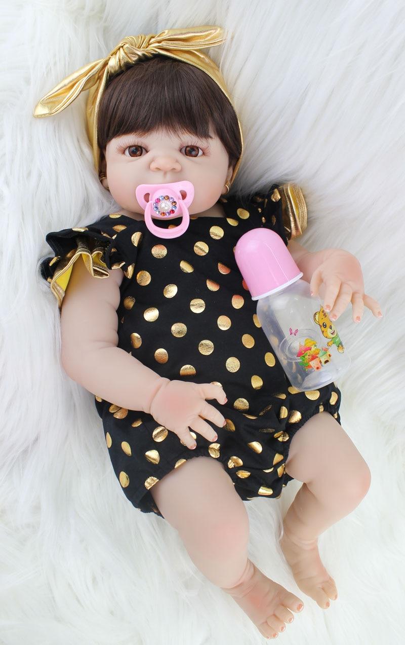 55 см полный силиконовый корпус возрождается детские игрушки куклы реалистичные Новорожденные принцесса младенцы кукла с серьги девушка ...