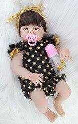 55cm Corpo Cheio de Silicone Boneca Reborn Realistas Recém-nascidos Bebês Princesa Boneca Com Brinco Menina Brinquedos Brinquedo Brinquedo Banho