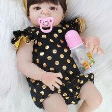55cm Full Silicone Body Reborn Baby Doll Toy Realistic Newborn Princess Babies D