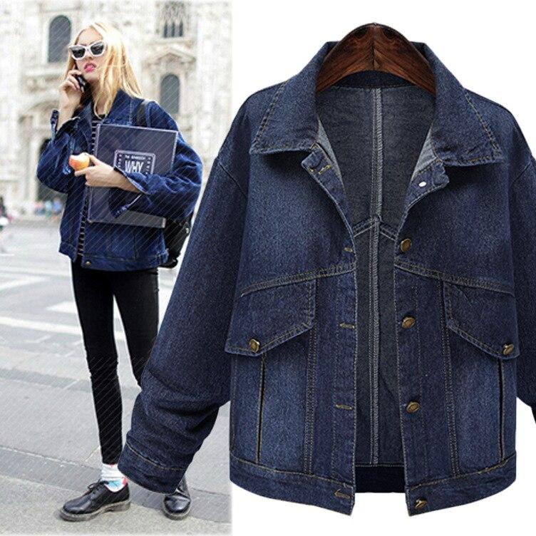 Vogue nouvelle belle mode automne femme Demin vestes femmes manteau lâche à manches longues Jeans hauts d'extérieur Casaco Feminino grande taille