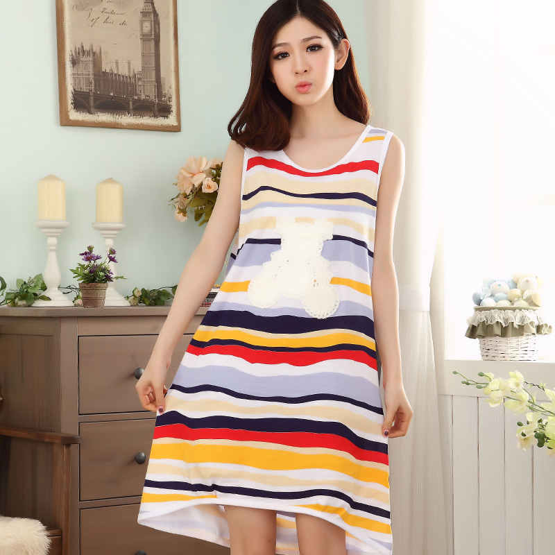 Summer Cotton Stripes Sleepshrit Women's   Nightgowns  &  Sleepshirts   Cartoon Nightdress Girl Sleepwear Dress Women Lounge Homewear
