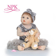 NPK Soft Body Silicone Lovely Reborn Doll Toy For Girls NewBorn Baby Birthday Gift To Child Bedtime fashion doll Christmas Gift(China)