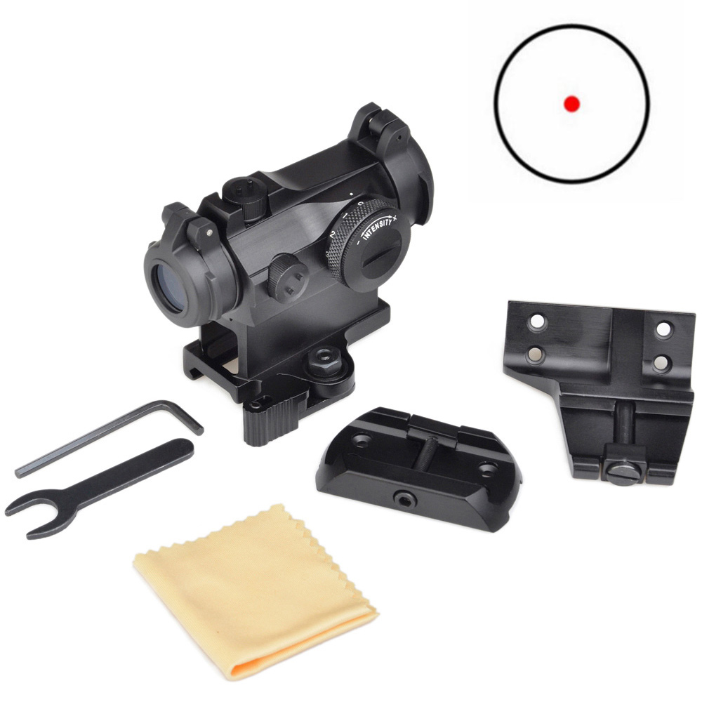 Tactical Red Dot Rifle Scope Sight With Low Mount, Riser Mount Offset Mount For Airsoft Hunting black hub usb 3 1 type c usb c multiple 3 ports hub adapter