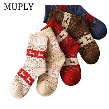 5Pair\Lot Winter Christmas Socks Women High Tube Thickening Warm Soft Print Elk Women Socks Chaussette Femme WholeSale cartoon elk print christmas tee