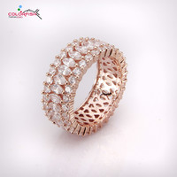 COLORFISH Rose Gold Color 925 Sterling Silver Wedding Ring Full Pave Setting Cubic Zirconia Jewelry For Women Eternity Band Ring