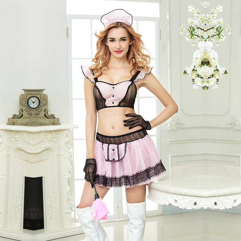 Sexy maid role-playing costumes hot erotic lingerie polyester pink maid suit ladies' clothes for sex tops and skirt set 6311