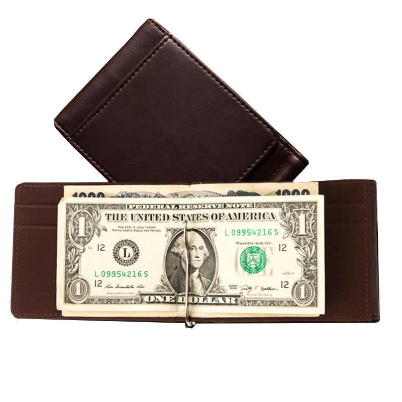 KUDIAN BÄR Minimalistischen Geld Clip Brieftasche Trifold Männer Geldbörse Geistige Dünne Schellen cartera hombre portemonnee BID237 PM49