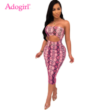 Adogirl Snakeskin Print Cutout Women Strapless Dress Fashion Sexy Sleeveless Bodycon Midi Night Club Party Dress Casual Vestidos