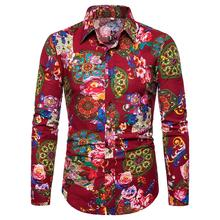 Linen Shirts Mens clothing Slim Fit Long-sleeved Social Shirt for Men Flower Casual Blouse Red