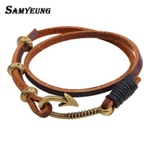 Samyeung Vintage Fish Hook Leather Cuff Bracelets for Men Women Anchor Bracelet Wristband Male Braslet Femme Men's Jewelry