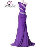 Grace Karin Long Evening Dress Mermaid Abendkleider 2016 Real Sample Chiffon Floor Length One Shoulder Special