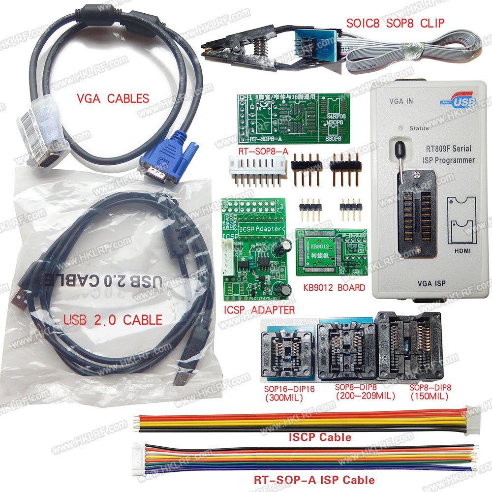 Rt809f Usb Programmer 7 Adapters Clip Vga Cable Eeprom Flash Atmel 8051 Based Microcontroller Electronic Avr Mcu Gal Pic Spi In Integrated Circuits From Components Supplies