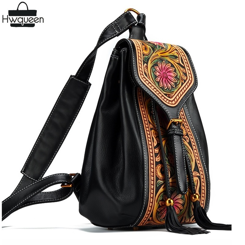 US $175 27 32% OFF|Chinese Style Vintage Genuine Leather Hand Carved Flower  Designer Women's Drawstring Tassel Backpack Ladies Floral Mini Backpack-in